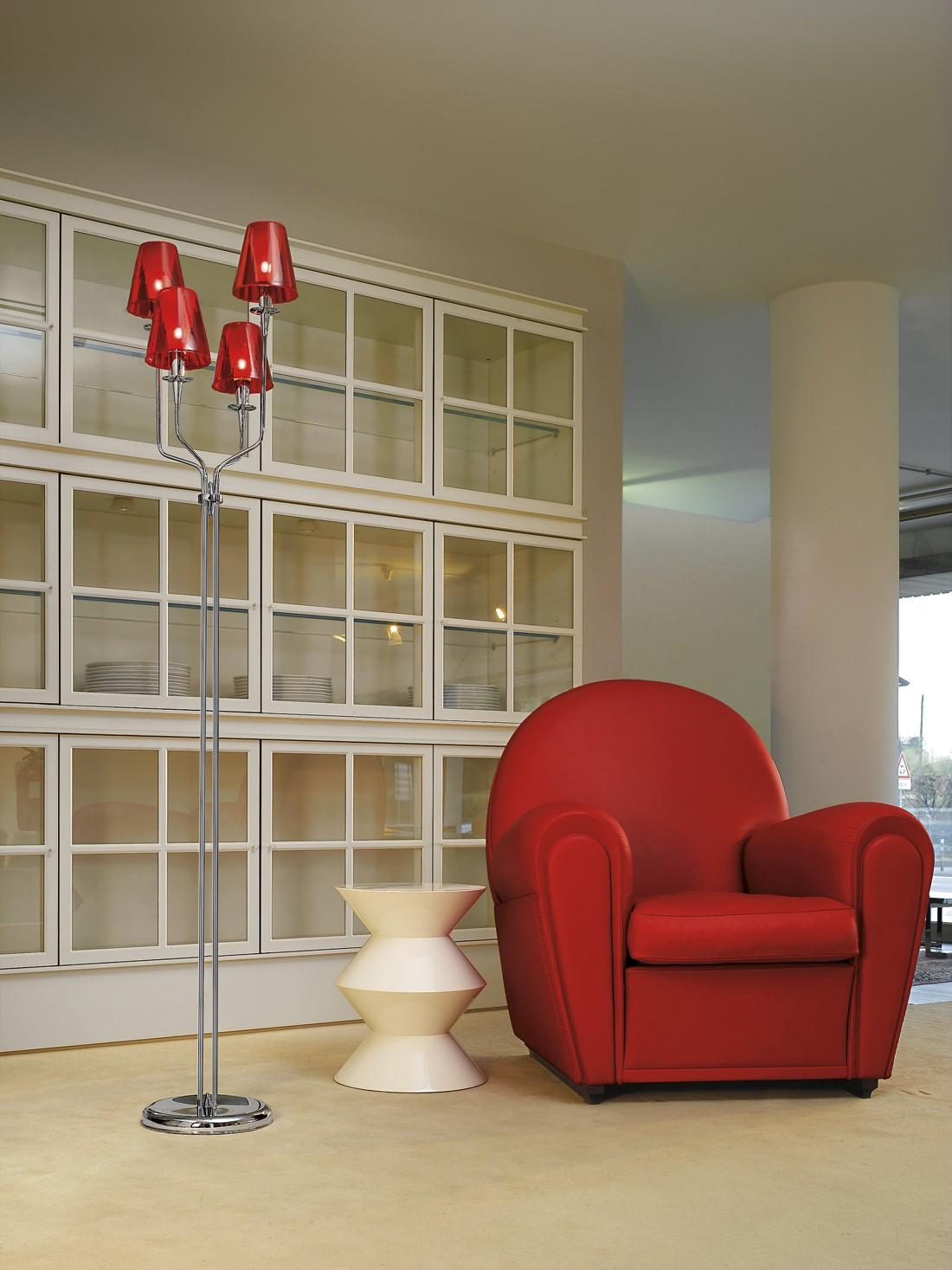 metal lux opera h175 stehlampe schirm rot. Black Bedroom Furniture Sets. Home Design Ideas